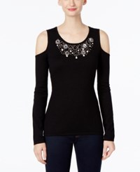 Inc International Concepts Embellished Cold Shoulder Top Only At Macy's Deep Black