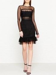 Three Floor Stargate Floral Lace Mesh Peplum Dress Black