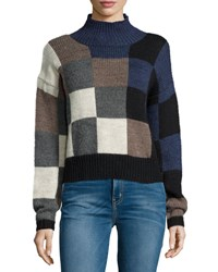 Current Elliott The Boxy Long Sleeve Sweater Checkered Shades