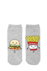 Forever 21 Burger And Fries Ankle Socks Grey Multi