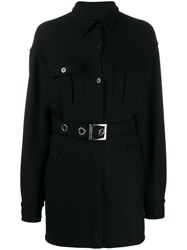 Pinko Belted Single Breasted Coat Black