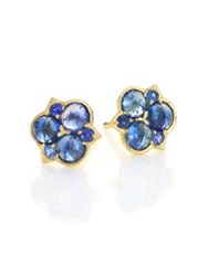 Ila Alisha Sapphire And 14K Yellow Gold Cluster Stud Earrings