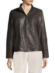 Eileen Fisher Stand Collar Leather Jacket Bark