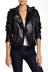 Steve Madden Knit And Faux Leather Hooded Moto Jacket Black