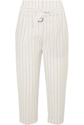 Brunello Cucinelli Cropped Striped Wool And Linen Blend Wide Leg Pants White