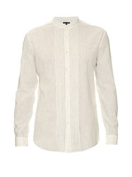 John Varvatos Pleated Bib Linen And Cotton Blend Shirt
