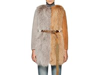 Blancha Colorblocked Fox Fur And Shearling Belted Coat Multi