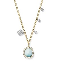 Meira T 14K White And Yellow Gold Larimar Necklace With Diamonds 19 Aqua White