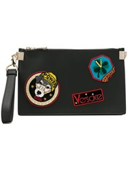 Versace Patch Zipped Pouch Black