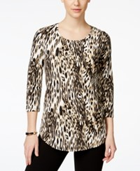Jm Collection Three Quarter Sleeve Animal Print Tee Only At Macy's
