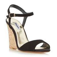 Dune Montecarlo Cork Effect Wedge Sandals Black