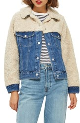 Topshop Hybrid Denim Borg Jacket Mid Denim Multi