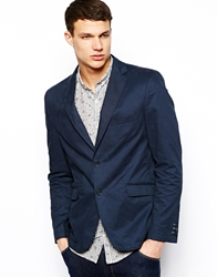 Vito Suit Jacket In Washed Cotton Darkblue