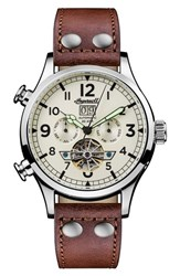 Ingersoll Watches 'S Armstrong Automatic Chronograph Leather Strap Watch 46Mm Brown Cream Silver