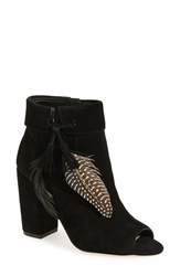 Jessica Simpson Women's 'Kailey' Feather Charm Peep Toe Bootie Black Suede