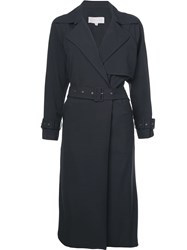 Michelle Mason Loose Flared Trench Coat Blue