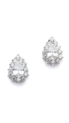 Kenneth Jay Lane Mini Halo Pear Cz Stud Earrings Clear