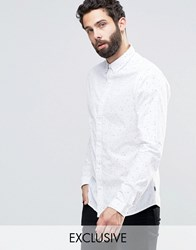 Only And Sons Skinny Printed Smart Shirt With Print White