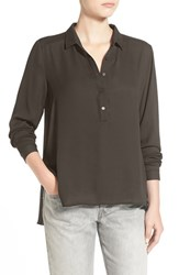 Junior Women's Lush 'Perfect' High Low Shirt Olive