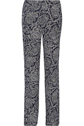 Theory Mitrana Printed Silk Georgette Wide Leg Pants Blue
