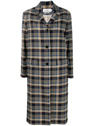 Closed Check Midi Coat Blue