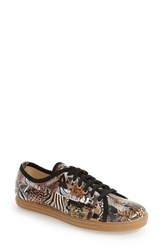 French Sole Women's 'Hampton' Water Resistant Patent Leather Sneaker Brown Animal Print Patent
