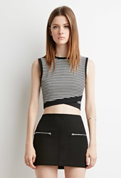 Forever 21 Striped Cross Hem Crop Top White Black