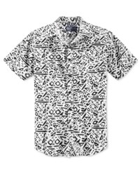 American Rag Men's Geometric Pattern Short Sleeve Shirt Only At Macy's Bright White