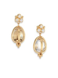Temple St. Clair Classic Rock Crystal Diamond And 18K Yellow Gold Teardrop Amulet Earrings