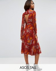 Asos Tall Midi Dress In Botanical Rose Floral With Open Back Red
