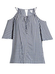 Velvet By Graham And Spencer Nedra Cut Out Shoulder Gingham Top Blue White