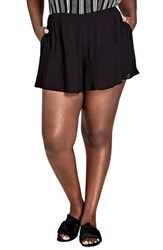City Chic Plus Size Sweet Frill Shorts Black