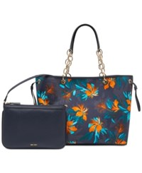 Nine West Ziah Extra Large Tote Navy Tropical Palm Print
