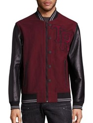 True Religion Collegiate Moleskin Leather Blend Varsity Jacket Bordeaux