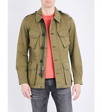 Polo Ralph Lauren Military Style Cotton Blend Jacket Defender Green