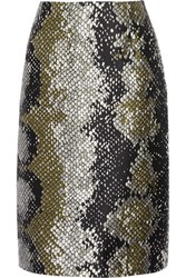 Prada Snake Print Wool And Silk Blend Skirt Black