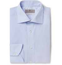 Canali Light Blue Slim Fit Cotton Shirt Blue