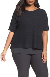 Eileen Fisher Plus Size Women's Organic Linen And Cotton Knit Top Black