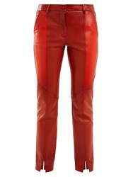 Givenchy Contrast Panel Skinny Leather Cropped Trousers Orange