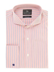 Chester Barrie Richard Classic Fit Striped Shirt Red