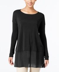 Eileen Fisher Silk Boat Neck Tunic A Macy's Exclusive Black