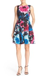 Women's Taylor Dresses Floral Print Scuba Fit And Flare Dress