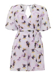 Lost Ink Pansy Print Playsuit Pale Pink