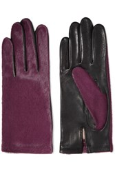 Agnelle Two Tone Calf Hair And Leather Gloves Purple