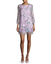 Marchesa 3 4 Sleeve Tulle Butterfly Tunic Cocktail Dress Lilac