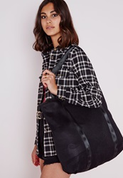 Missguided Airtex Shopper Black