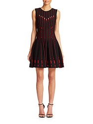 Rvn Cutout Circle Fit And Flare Dress Black Red