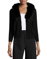 Milly Fur Collar Wool Cardigan