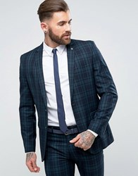 Farah Skinny Suit Jacket In Check Green