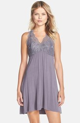 Fleurt Women's Fleur't Lace Top T Back Chemise Grey Lavender
